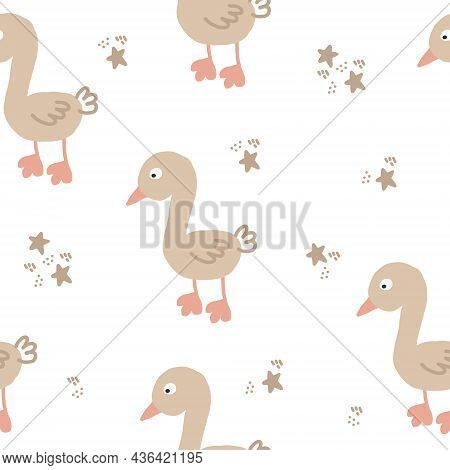 Cute Goose Seamless Pattern Hand Drawn. Vector, Minimalism, Trending Colors 2022. Wrapping Paper, Te