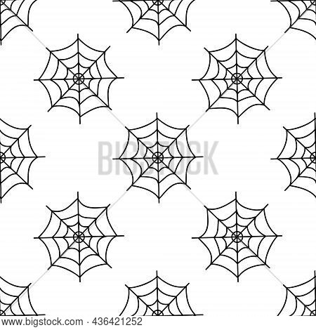 Flat Vector Illustration. Halloween Seamless Pattern With Black Cobwebs On White Background. Use For