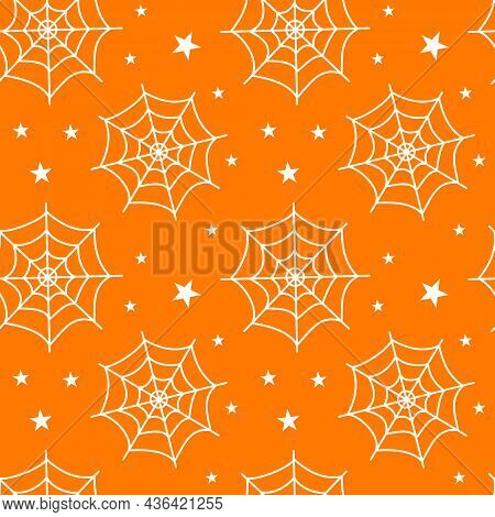 Halloween Seamless Pattern With White Cobwebs On Orange Background. Flat Vector Illustration. Use Fo