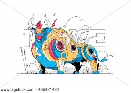 Colourful Big Bull Vector Illustration. Angry And Wild Animal Made Of Metal Flat Style. Move Text. A