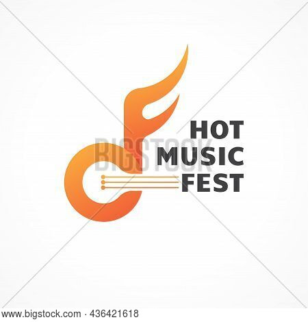 Hot Music Fest. Abstract Flame Musical Note With Strings Vector Illustration. Letter Cf Alphabet Ini