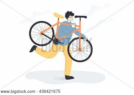 Male Criminal In Mask Carrying Stolen Bicycle. Bike Thief Flat Vector Illustration. Theft, Law Break