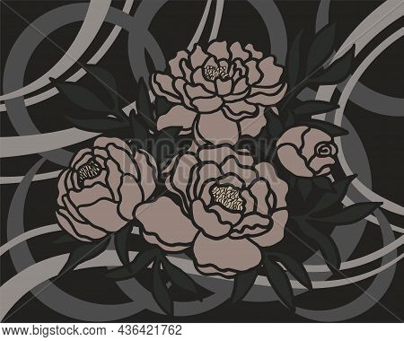 Dark Geometric Floral Vector Background With Beige Peonies. Flowers On The Background Of Abstract Ch
