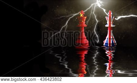 China And Great Britain Flags Paint Over On Chess King. 3d Illustration Great Britain Vs China.