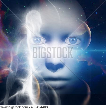 Face in space. Soul or aura. 3D rendering.