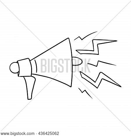 Megaphone With Loud Sound. Loudspeaker Or Horn For Loud Speech. Attracting Attention. Doodle Sketch