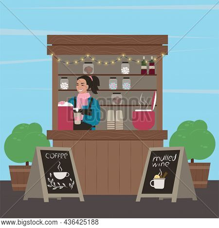 Stall Counter. The Girl Sells Mulled Wine And Coffee. Hot Drinks. Vector Illustration