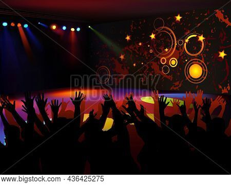 Background With Dancing People Silhouette On Dance Floor In Night Club - Colored Illustration With L