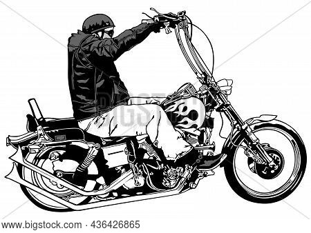 Rider On Chopper - Black Hand Drawn Illustration Isolated On White Background, Vector