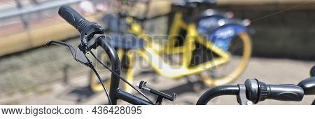 Parking For City Bike Rentals. Bicycle Rental For Tourists