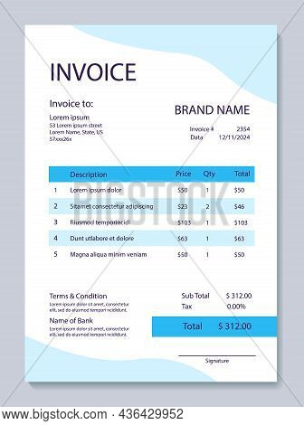 Mental Health Invoice Template. Psychological Wellness. Psychiatry Receipt And Tax. Vector Layouts F