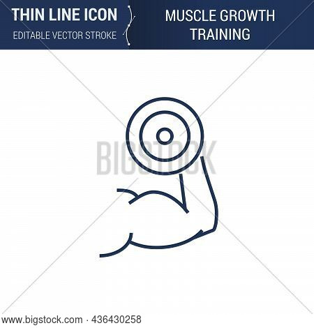 Symbol Of Muscle Growth Training Thin Line Icon Of Sport And Fitness. Stroke Pictogram Graphic Suita
