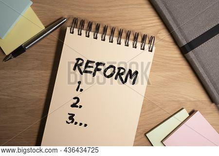 Reform Word With Plan Steps 1, 2, 3. Economic Amendments Concept.
