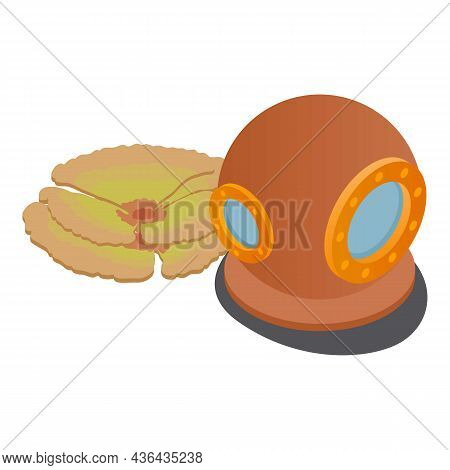 Diving Gear Icon Isometric Vector. Old Vintage Diving Helmet And Soft Coral Icon. Equipment For Retr