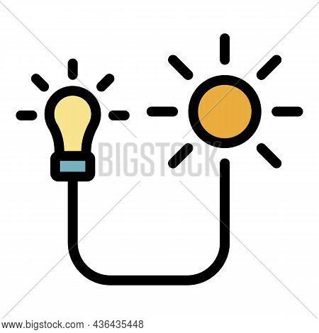 Solar Energy Bulb Icon. Outline Solar Energy Bulb Vector Icon Color Flat Isolated