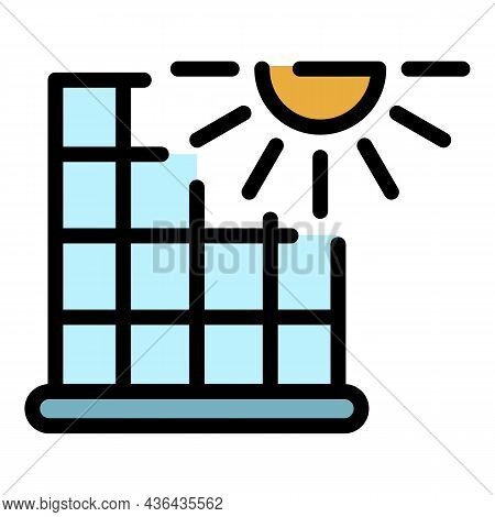 Home Solar Panel Icon. Outline Home Solar Panel Vector Icon Color Flat Isolated