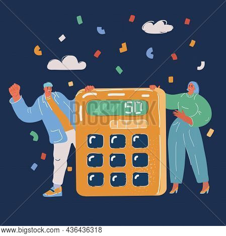 Vector Illustration Of Calculating. Business People And Calculator. Accounting, Financial Analytics.