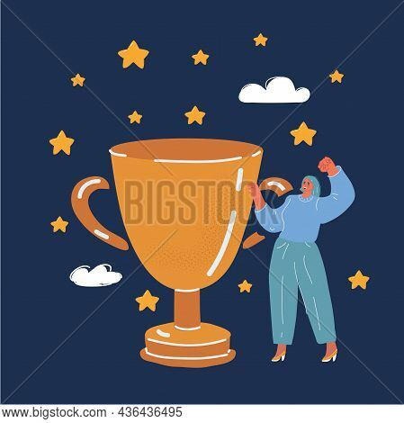 Vector Illustration Of Woman Andtrophy Cup. Champion Trophy, Shiny Golden Cup And Falling Confetti,