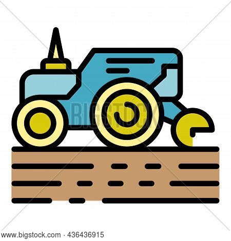 Smart Tractor Icon. Outline Smart Tractor Vector Icon Color Flat Isolated