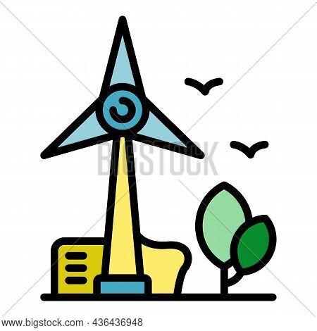 Eco Wind Turbine Icon. Outline Eco Wind Turbine Vector Icon Color Flat Isolated