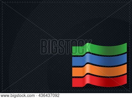 Black Grid Background With Colored Strips - Abstract Illustration For Graphic Design, Visit Card Or