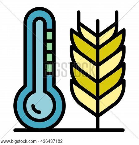 Smart Plant Temperature Icon. Outline Smart Plant Temperature Vector Icon Color Flat Isolated