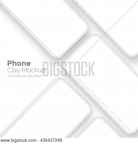 Clay Phones For Showcase Mobile App Design, Isolated. Vector Illustration