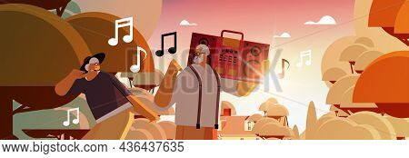 Senior Family With Bass Clipping Blaster Recorder Dancing And Singing Grandparents Having Fun Active
