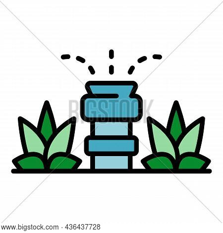 Garden Irrigation Icon. Outline Garden Irrigation Vector Icon Color Flat Isolated
