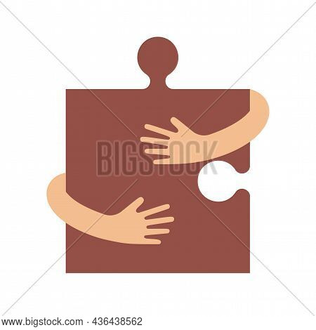 Human Hands Embracing Or Holding Puzzle Sign Vector Flat Illustration Isolated On White Background.