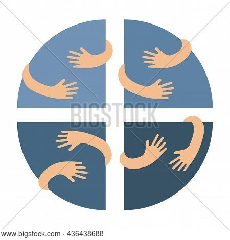 Human Hands Embracing Or Holding Circle Segments Vector Flat Illustration Isolated On White Backgrou
