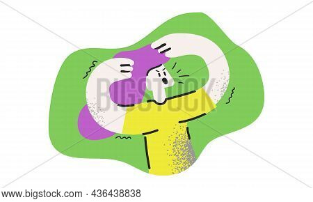 Young Angry Woman Cartoon Character Isolated On A Green Background. Unhappy Girl With Hands Raised A