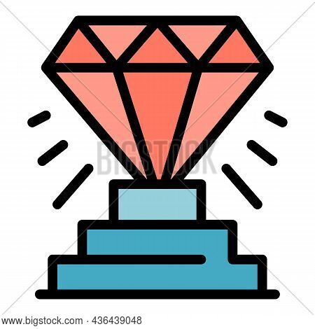 Diamond Startup Icon. Outline Diamond Startup Vector Icon Color Flat Isolated