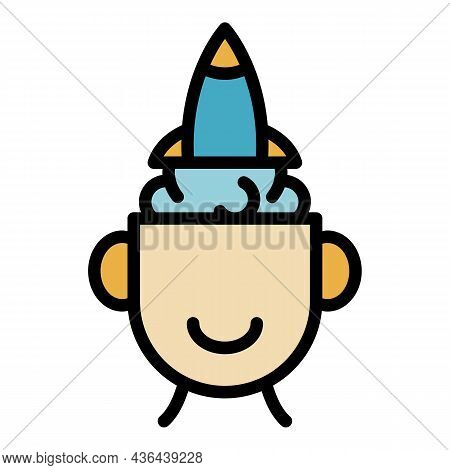 Rocket Idea Startup Icon. Outline Rocket Idea Startup Vector Icon Color Flat Isolated