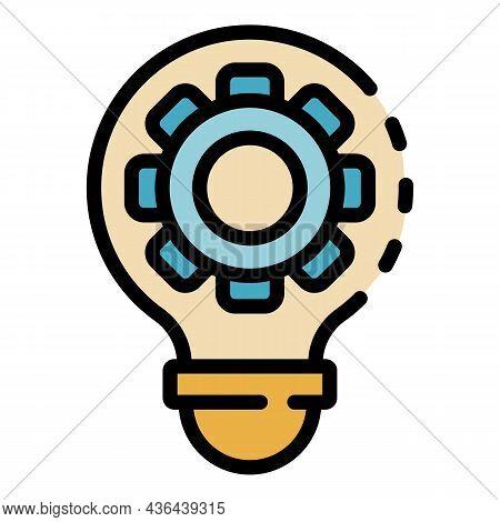 Bulb Gear Wheel Icon. Outline Bulb Gear Wheel Vector Icon Color Flat Isolated