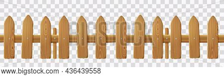 Old Wooden Picket Fence Isolated On Transparent Background. Vector Realistic Barrier With Wood Textu