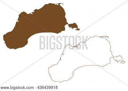 Unimak Island (united States Of America, North America, Alaska, Us, Usa, Aleutian Islands) Map Vecto