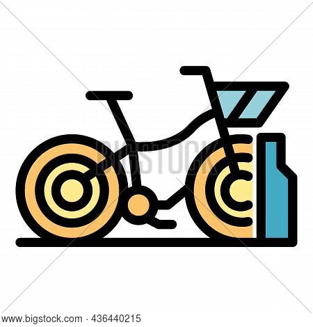 Business Bike Rent Icon. Outline Business Bike Rent Vector Icon Color Flat Isolated