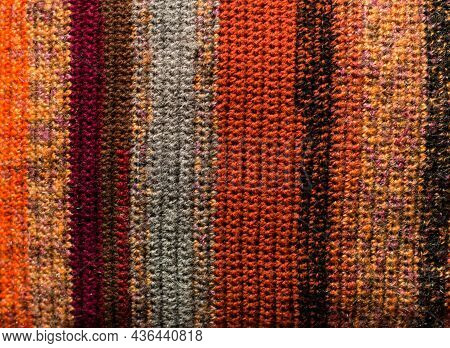 Greegreen And Orange Background With Checkered Pattern, Closeup. Structure Of The Fabric Macro.n And