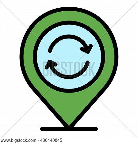 Gps Location Recycle Icon. Outline Gps Location Recycle Vector Icon Color Flat Isolated