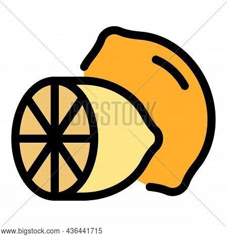 Half Lemon Icon. Outline Half Lemon Vector Icon Color Flat Isolated