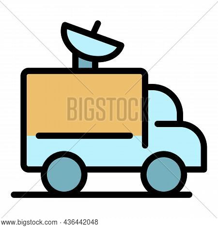 Satellite Truck Icon. Outline Satellite Truck Vector Icon Color Flat Isolated
