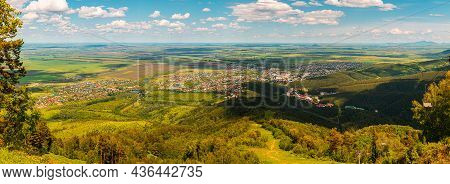 Panorama Of The Village In The Valley. View From The Mountain To The Village At The Foot. Nice View