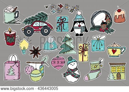 Collection Of Hand Drawn Christmas Stickers. Snowman, Penguin, Coffee, Dessert, Gift Box, Christmas