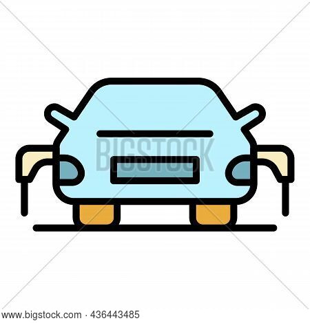 Dual Charge Electric Car Icon. Outline Dual Charge Electric Car Vector Icon Color Flat Isolated