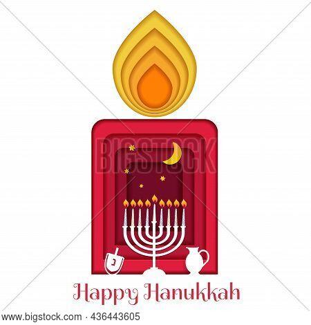 Happy Hanukkah, Jewish Festival Of Lights Paper Cut Greeting Card With Chanukah Symbols Dreidels, Sp