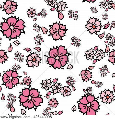 Vector White Background White Pink Cherry Tree Flowers And Cherry Blossom Sakura Flowers. Seamless P