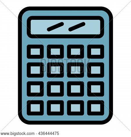 Calculator Icon. Outline Calculator Vector Icon Color Flat Isolated