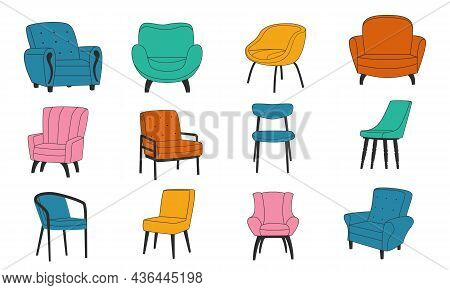 Chair Collection. Doodle Cozy Armchair For Relaxation. House Decoration. Interior Furniture Element.