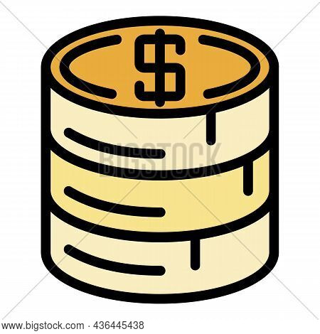Stack Of Coins Icon. Outline Stack Of Coins Vector Icon Color Flat Isolated